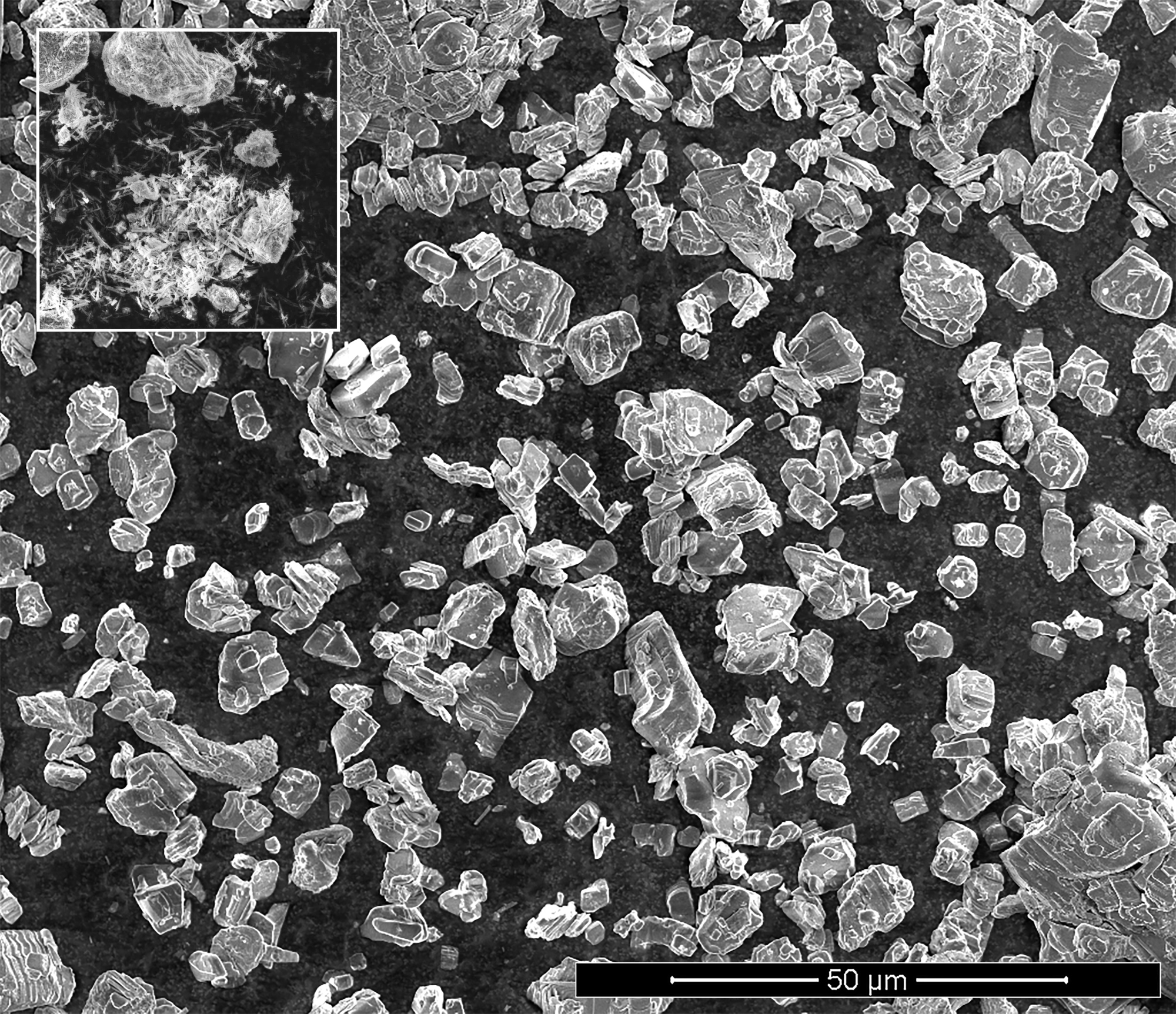 A sample of potassium titanate taken with a scanning electron microscope (SEM)